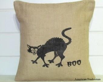 Burlap Pillow- Halloween Decor, Boo Cat, Black Cat Pillow, Halloween Pillow, Throw Pillow, Decorative Pillow