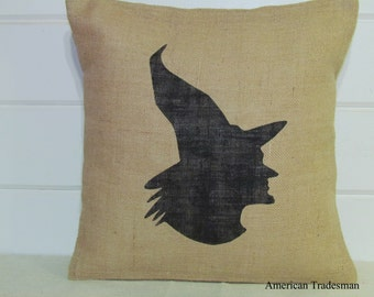 Burlap Pillow- Halloween Decor, Witch Silhouette, Witch Pillow