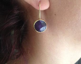 Earring, Gemstone Earring, Handmade Earring, Black Earring, Gold plate Earring,Gold Filled Earring, Birthday gift,  Gift  for  Her,