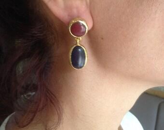 Earring, Gemstone Earring, Double Stone Earring, Gold Filled Earring, Handmade Earring,  black Earring,  Gift  for  Her,