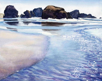Print - Pacific Coast Watercolor Seascape painting - Oregon Coast, Pacific Ocean Beach, Highway 101, Northwest art, watercolor print, beach