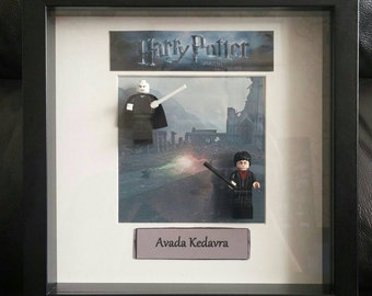 Framed Lego Harry Potter and Voldemort Deathly Hallows