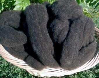 Black Finnsheep Roving  - 8 oz