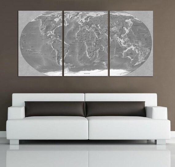 3 Panel Split Art World Map Canvas Print Triptych For: 3 Panel Split World Map Canvas Print. Black And White