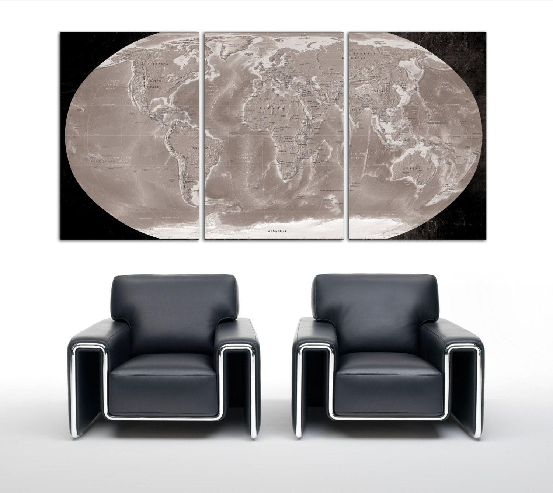 3 Panel Split Art World Map Canvas Print Triptych For: 3 Panel Split World Map Canvas Print. With Colored Textured