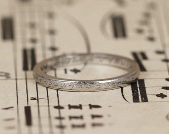Art Deco 2mm Platinum Wedding Band, Vintage Wedding Ring with Wheat Sheaf Engraving, Inscription and Provenance, Size J+