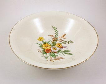 Vintage China Serving Bowl, Mid Century China Bowl, Knowles China KNO59 Pattern, Vintage 1940s Decorative Bowl, Spring Floral Bowl