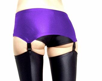 Purple spandex pull on suspender belt