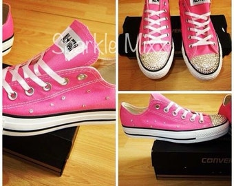 Adults Pink Scatter Crystal Swarovski Converse
