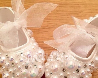 Baby Crib Pearl and Crystal Christening Shoes (wedding bling occasion)
