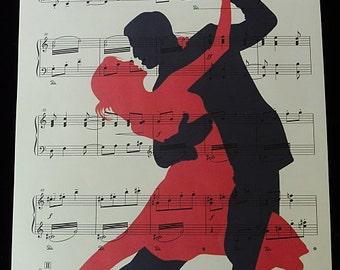 Dancing Couple Print on Vintage Music Sheet, dance art, dance poster, music poster, music gift, girlfriend gift, music art