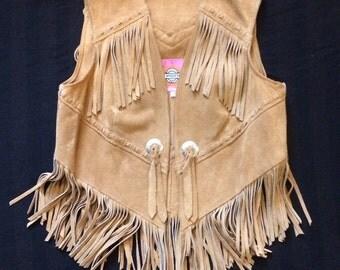 Vintage Suede Vest Ms. Pioneer sz 10 Western 70's