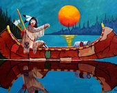 "Acrylic Original Art Painting, ""Hunters Moon"",  Birch Bark Canoe, Western Art, Native American Art, Night Painting, Gift"