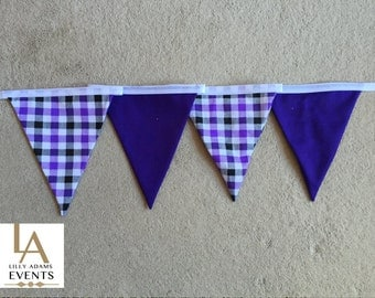 Double Sided Purple Check/Gingham & Plain Fabric Bunting