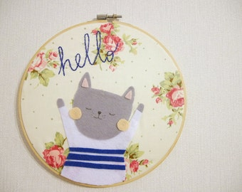 Cute kitty wearing a sweater - Hand stiched embroidery hoop