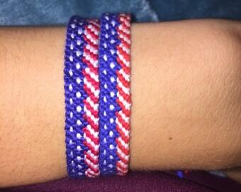 Adjustable American Flag Friendship Bracelet Handwoven