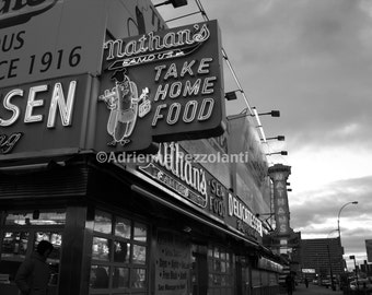 Brooklyn Nathan's Famous Hot Dogs Art Coney Island Beach Photography Black & White Photo Images New York NYC Photograph