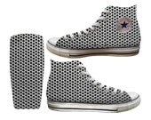 Faux Leather x Metallic Mesh Custom Printed Converse All Stars and Vans