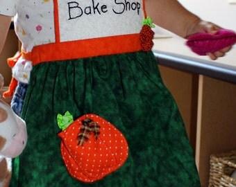 Pumpkin Apron Child, Personalized Apron, Pretend Play, Fall Apron, Girl Apron, Thanksgiving Apron, Child Baking Apron, Crafting Apron,