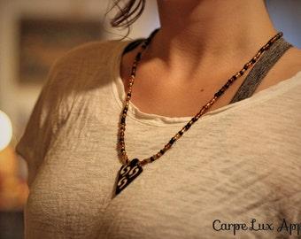 Mixed Media Handmade Beaded Arrowhead Necklace