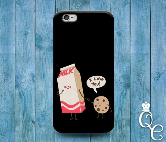 iPhone 4 4s 5 5s 5c SE 6 6s 7 plus iPod Touch 4th 5th 6th Generation Cover Funny Black Milk Cookie I Love You Cute Fun Food Phone Cover