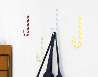 Garderobenhaken «Zuckerstange», Garderobe, Wandhaken, métal, carie - candy cane crochets muraux, garde-robe, métal, coloré