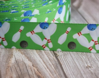 "1"" Bowling ribbon - Strike - Spare - 3 or 5 yard lot - Grosgrain ribbon - Green white red blue - Love to bowl - DIY bowling hair bows"