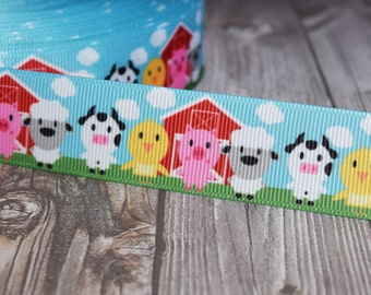 """1"""" farm animal ribbon - Farm ribbon - Pig cow chick sheep ribbon - 3 or 5 yards - Baby shower ribbon - Party favor DIY - DIY hair bows"""