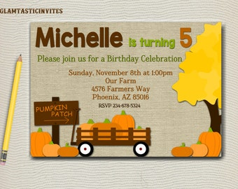 Pumpkin Patch Birthday Invitation, Fall Birthday Invitation, Pumpkin Invitation, Birthday Invitation, Burlap,Pumpkin Patch, Printable Canvas
