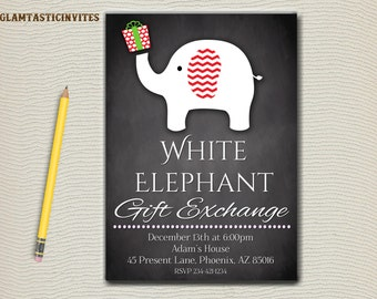 items similar to printable white elephant christmas party, Party invitations