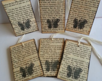 Butterfly tags, Rustic butterfly tags, Butterfly gift tags, Butterfly favor tags, Set of 12
