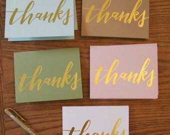gold foil thank you notecard set | handwritten notecard | thank you cards | gold thank you | calligraphy notecard set | gold foil notecards