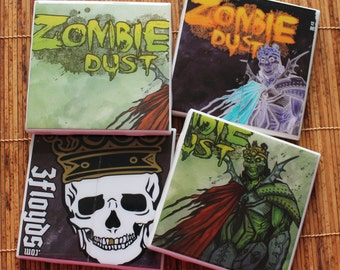 3Floyds Brewing Zombie Dust Ceramic Craft Beer Coasters from Upcycled 6 pack holders. Beer Coasters. Beer Gifts. Set of 4.