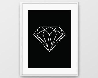 Geometric Art, Diamond Print, Black Art, Geometric Wall Art, Geometric Print, Printable Wall Art, Diamond Shape, Minimalist, Diamond Art