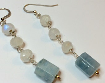 Aquamarine Earrings, March Birthstone, Moonstone Earrings - FREE SHIPPING