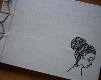 Hand Bound A4 Sketchbook with Lino Print Cover