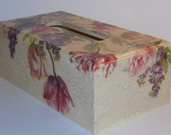 Wooden Tissue Box Cover, Decoupage Wooden Tissue Box  Holder, Vintage Style
