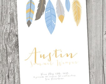 Baby Name with Birth Details PRINT Feathers