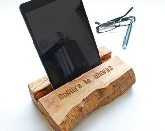 Natural Olive Wood iPad Stand/Docking Station - can be personalized