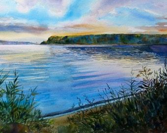 Original Hudson River watercolor, Hudson River Art, Hudson River New York, Piermont Pier New York, 17 x 27 inches, blues, golds, lavendar