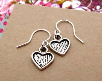 Silver Dangle Heart Earrings, Valentine Earrings - Everyday Jewelry. Simple Gift for Her.