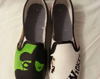 Broadway's Wicked Inspired Hand Painted TOM's Canvas Shoes