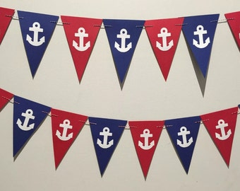 NAUTICAL theme paper cardstock BUNTING pennant flag banner. Navy red & white ANCHORS punchies. Birthday, baby shower party, beach decoration