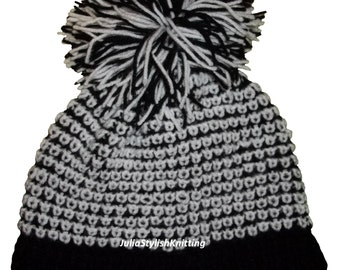 Cap knitting. Knitted boucle