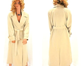 Anne Klein II Vintage 80s Khaki trench coat, sze M,  long rain coat, 1980s designer trench coat, SunnyBohoVintage