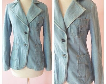 AMAZING! Retro 1970s Denim Jacket Coat, Blazer, 70s Women's Vintage Boho Chic, Biker Babe Rocker, Vintage Denim, Viceroy Faded Denim