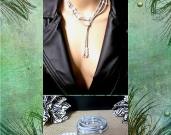 6 Wrap Boho Suede Leather White Pearl Multi Wrap Bracelet, Lariat Suede Leather Choker Necklace, Anklet, gift
