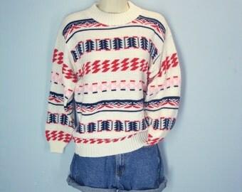 Vintage 70s Sweater, Southwestern Sweater, Navajo Sweater, Ski Sweater, Lodge Sweater