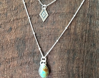 Double strand charm and turquoise charm necklace, hand stamped charm, Mother's Day gift, layer necklace
