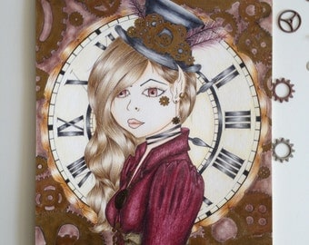 An original steampunk coloured pencil drawing, entitled 'Ms Lizzy'